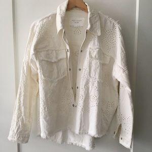 Zara openwork embroidered jacket XS